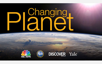 Image of the earth with the words Changing Planet and logos of NBC News, NSF, DISCOVER and Yale.
