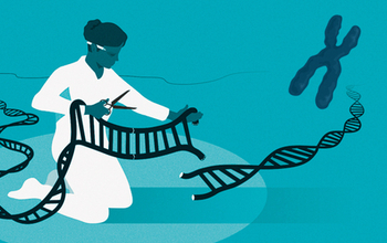 CRISPR illustration depicting a scientist using scissors to cut a strand of DNA