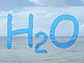 H20 over background of ocean, clouds and sky