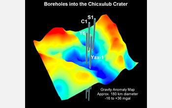 A three-dimensional Bouguer gravity map of the Chicxulub Crater.