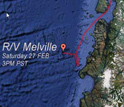 Map showing the Melville's location off Chile when the 8.8 quake struck on February 27th.