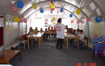 This classroom in the military tent city housed survivors of the Bingol earthquake.