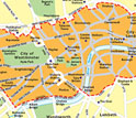 Map of London's Congestion Charging Zone.
