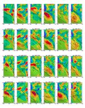 Images showing 3-hourly evolution of the Catalina Eddy during two days.