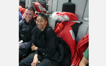 Photo of Shakira Brown, right, and Howard Koss on a C-17 en route to Antarctica.