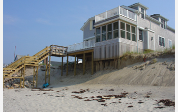 Photo of a fragile barrier beach in Massachusetts, which is the site of CNH research.