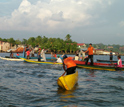 Photo of early morning shrimpers congregating on Nicaragua's coast.