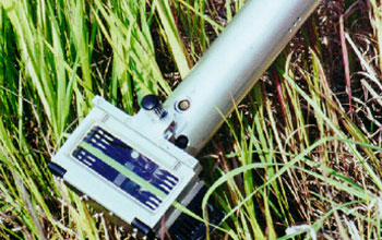 Photo of the portable carbon dioxide gas exchange system which measures grass leaf photosynthesis.