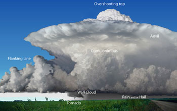 illustration showing the components of a supercell thunderstorm