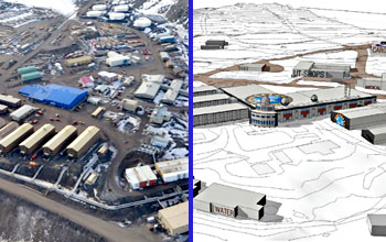 Photo of existing McMurdo Station (left) is compared to an artist's conception of the future station