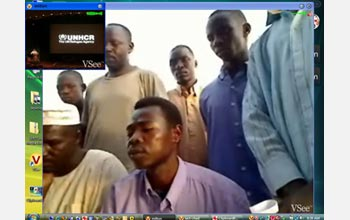A screen capture from an earlier VSee session from the newly named Obama school in Chad.