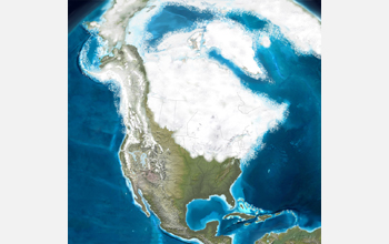Map of North America during the Pleistocene 12,000 years ago showing glaciation.