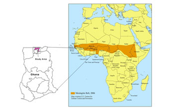 "Map of Africa showing the ""meningitis belt"" stretching from Gambia through Ghana to Eritre"