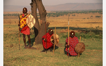 Maasai morans tribesman in Kenya. Example of a large group with maintained cooperation.
