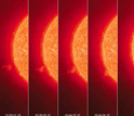 Images showing the Sun's outer atmosphere, or corona, and a jet of hot material.