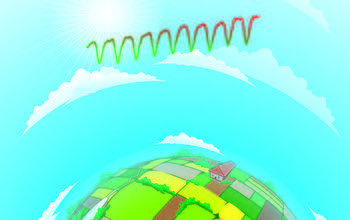 illustration showing argicultural fields, sky and sunshine