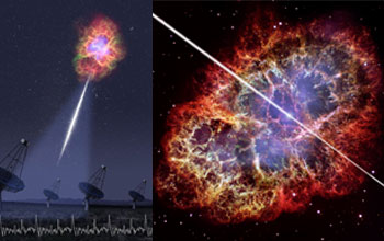 Images showing the Crab Pulsar emitting light energy.