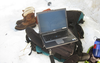 Science in the snow: Downloading data on trees at the Southern Sierra Critical Zone Observatory.