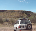 Photo of one of the research team's field vehicles on site in the Rukwa Rift Basin.