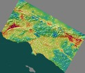 map for 336 sites in the Los Angeles region show regions of high and low hazard risk