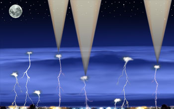 Illustration of a cubesat mission that studied lightning and gamma rays in thunderstorms.