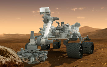 an artist's concept featuring NASA's Mars Science Laboratory Curiosity rover, a mobile robot