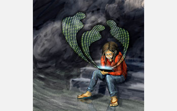 Illustration showing a depressed child holding a tablet with 3 cyberbullies coming out of tablet.