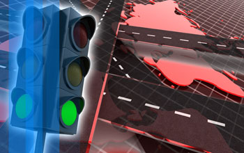 Graphic illustration showing a traffic light, roads and maps