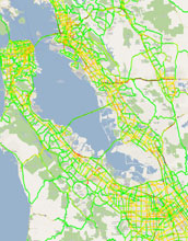 Map showing traffic as reported by Berkeley's Mobile Millennium visualization system