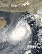 Image of super-cyclonic storm Gonu over the Arabian Sea on June 4, 2007.