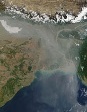 Image showing the skies over India filled with aerosol particles streaming the over Bay of Bengal.