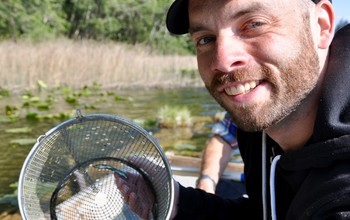 Researcher Michael White collecting threespine stickleback fish for research.