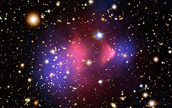 Image showing colliding galaxy clusters