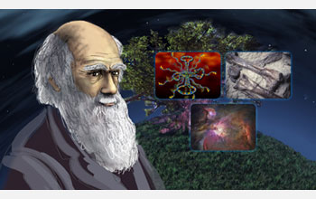 Illustration of Charles Darwin with photos of stars, fossil, and dna in the background.