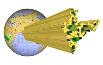 Illustration of a 3-D column terminated by blue, green, yellow and gray pixels coming from a globe.