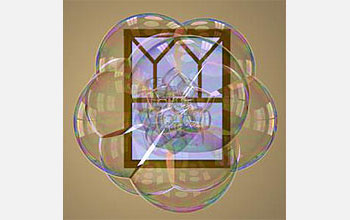 Bubble cluster in front of a Gothic window