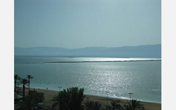 Photo of the view from the research site at Ein Bokek (southern Dead Sea), to the Jordanian side.