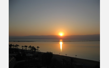 Sunset over the Dead Sea, as observed from Ein Bokek at the southern Dead Sea.