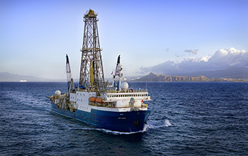 Research vessel JOIDES Resolution off the coast of Hawaii