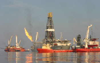 Photo of vessels and platforms responding to the Deepwater Horizon spill in 2010.