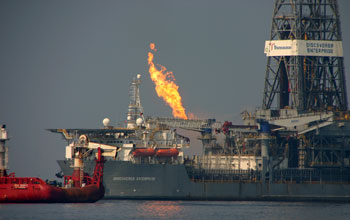 Image of natural gas flaring captured at the ruptured Gulf of Mexico well.