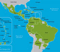 map of western hemisphere showing countries with dengue fever cases