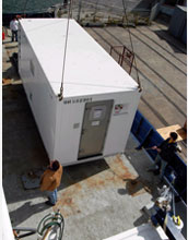 Photo of 20-foot cargo container that houses the trace-metals laboratory