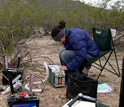 Photo of Kathy Gerst operating a device that measures photosynthetic gas exchange parameters.