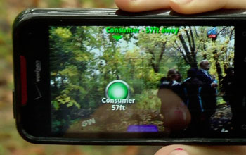 "A smartphone screen showing a FreshAiR ""hotspot"" during an EcoMOBILE augmented reality act"