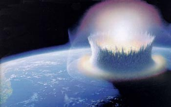 This artist's rendering shows the Chicxulub crater at the time of the meteorite's impact.