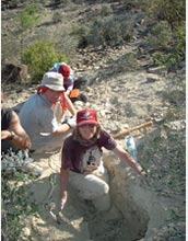 Photo of geologist Gerta Keller and others working on evidence for Chicxulub meteorite impact.