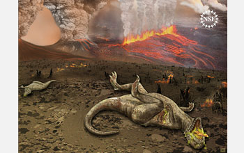 Illustration of dinosaurs dying amid a volcanic eruption.