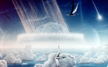artist's depiction of the asteroid impact