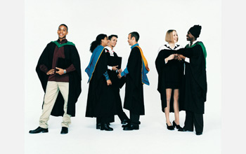 Photo of a group of graduating doctoral students.